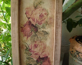 shabby chic,vintage roses plaque,very grungy,decoupaged pink roses & rosebuds in old pink painted,wooden frame