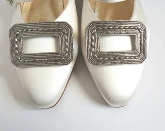 Vintage Shoe Clips by Tip Toe, 1960s, Metal Filagree, Wedding, Eveningwear