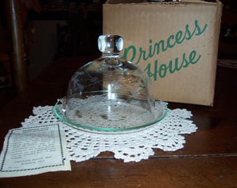 Vintage Princess House Heritage Crystal Butter Dish/Cheese Plate with Glass Cloche and Base...Made in the USA..