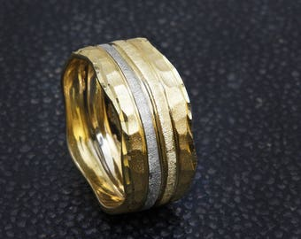 Hammered Ring, 14K Gold Wedding Band, Unique Wedding Ring, Two Tone Ring, Textured Ring, Womens Wedding Band, Unique Rings.