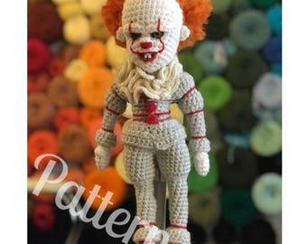 Pennywise inspired creepy clown like IT doll Crochet Amigurumi Pattern