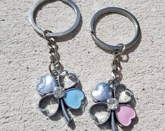 Couples Keychain, Love, Flower, Blue, Pink