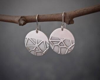 Sterling Silver earth texture disc Earrings, silver earrings, texture earrings, simple everyday earrings, gift, dangle earrings