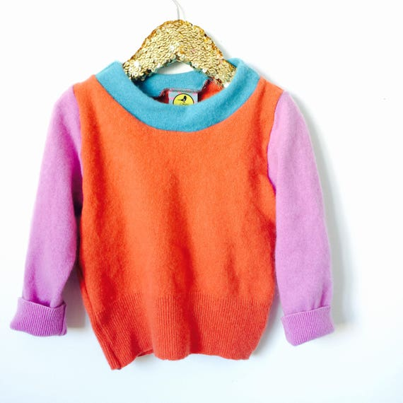 SOFTIE 3-4 Years Kids Childrens Cashmere Jumper Handmade Top Sweater Pullover Pulli Upcycled Thermal Cashmere Unisex