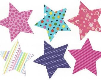 6 fabric star - stars iron on fabric appliques DIY