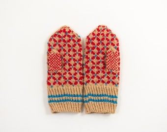 Hand Knitted Mittens - Beige and Red, Size Extra Small, For Teens