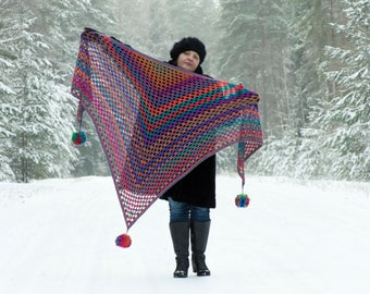 Crochet Triangle Shawl with Pom-Poms -Rainbow Shawl, Colorful, Purple, Blue, Orange...