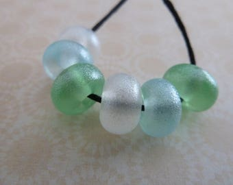 handmade lampwork glitter bead set, UK