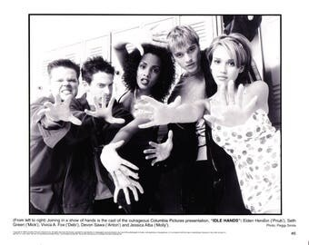 Vintage Photograph Elden Henson, Seth Green, Vivica A Fox, Jessica Alba In Idle Hands 1999 Movie Promotional Photograph Black & White