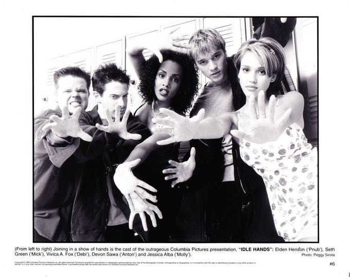 Vintage Photograph Elden Henson, Seth Green, Vivica A Fox, Jessica Alba In Idle Hands 1999 Movie Promotional Photograph Black & White