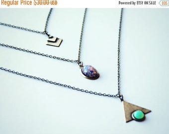 VACATION SALE geometric layer necklace, triangle layer necklace, opal layer necklace, chevron layer necklace, triple necklace