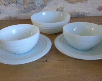 Blue milkglass teacups and bowl, pair of Art Deco style cups and saucers
