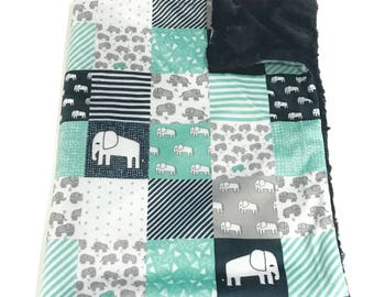 Elephant Minky Baby Blanket, Jungle Baby Quilt, Blue and Grey Baby Blanket, Baby Shower Gift, Navy Mint Grey Bear Baby Blanket