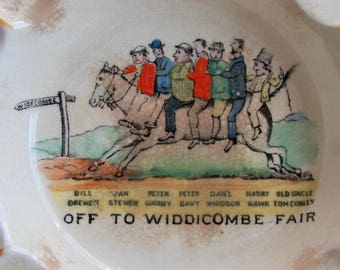 Whimsical English Ashtray Off to Widdecombe Fair, Dartmoor, Devon Folk Song Vintage
