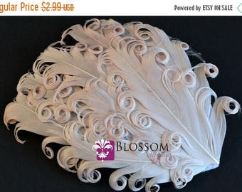 ON SALE 1 Curly Nagorie Feather Pad - Goose Feather Pad - Cream - DIY Headband Hair Clip Hat Wedding Supplies - Newborn Photo Prop - Dark Iv