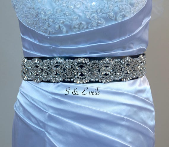 Sparkling Wedding Belt with Black Sash | popular sash color for 2018, dress accessories, head accessories, sparkling belts for dresses,