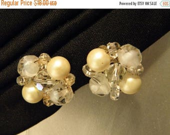 10% OFF 1960's Laguna Pearl and Crystal Vintage Earrings,  Iridescent, Clip, Vintage, Gift