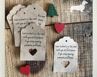 CLEARANCE! Christmas Heart. Gift Tags (Set of 12) -- (Vintage-Style, Holiday Gift Wrap, Party Favor, Love Tags, Brown Kraft, Under 5 Dollar)