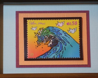 Peter Max Framed Stamp - Johannesburg Summit - Great Wave with Doves