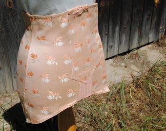 Vintage French damask peach lace-up boned corset girdle garter belt stays waspie