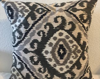 Richloom Home Decor Fabric, Hayley in Graphite, Grays and Black Ikat, Cushion Covers, Sofa PIllows, 18x18 inch square
