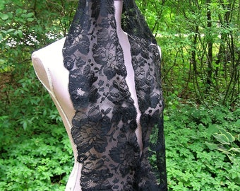 Antique Chantilly Lace Accessory Mourning Lace Scarf Wrap Lappets Victorian Black ? Silk Lace 7 in. By 60 In. Exquisite Pristine Condition