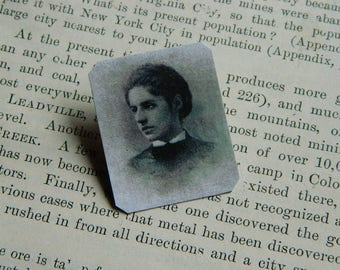 Emma Lazarus pin brooch Statue of Liberty Give me your tired....poet anti-Trump