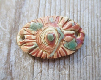 Ceramic ConnectorTurquoise Pink Brown White Flower Rustic Earthy FunKy