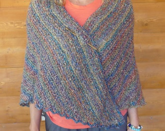 Hand-Knitted Soft Acrylic Triangle Shawl with Southwestern Heather Colors and a Shawl Stick