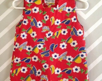 vintage shortalls for baby girl with floral and hat novelty print by kmart size 6-9-12 months