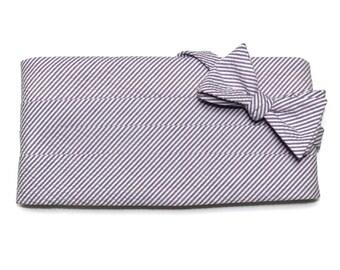 Purple Seersucker Stripe Cummerbund & Bow Tie~Mens Cummerbund Set~Mens Formal Wear~Groomsmen~Groom~Self Tie Bow Tie~Men Gift~Wedding