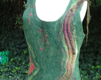 Felted tunic made in usa, Nuno felted silk dress, Felted clothing, Unique wool dress, Green merino wool dress, Gift for mom