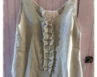 Cotton Tunic Tank Womens Altered Magnolia Pearl Style Shabby Chic Small Boho Hi Lo Asymmetrical Pinstripe