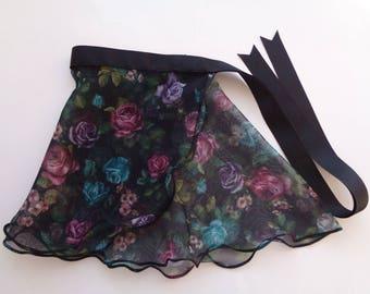 Toddler Flower Prints on Black Skirt, Child Wrap Skirt, Toddler Dance Skirt, Toddler Ballet Skirt, Child Dance Skirt, Black Prints Skirt
