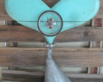 Large vintage funnel w/aqua heart