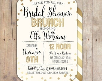 SUMMER SALE Gold Confetti Bridal Shower Baby Shower Invitation Bridal Shower Printable Invitation OR Printed Card