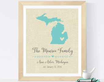 Personalized Birthday Gift for Mom - Personalized Family Name Art Print - Michigan or Your Choice of State