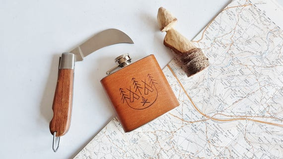 Leather Camp Fire Flask, camping gift outdoor hip flask custom boyfriend gift personalised scout flask personalised fathers day gift