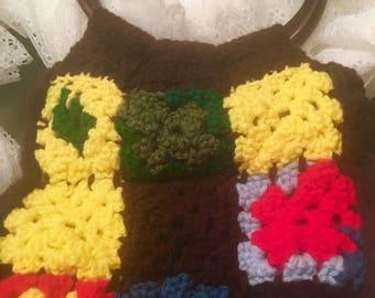 70s Vintage Granny Square Crochet Bag Gr@@VY