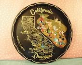 Vintage Disneyland Tray - Round Metal - 1960s California