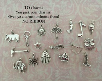Cake Charms - Cake Pull Charms   Over 50 different charms. Pick 10 charms - NO RIBBON Just Charms