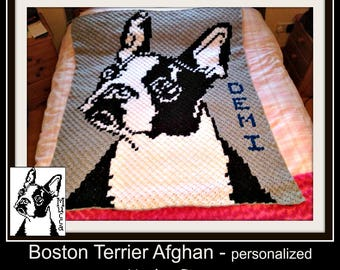 Boston Terrier Afghan, Personalized,  C2C Graph & Written Word Chart