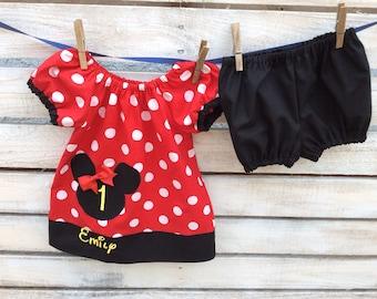 Minnie Mouse Birthday Dress, Minnie Mouse Dress, Minnie Mouse Outfit, Minnie Mouse Birthday Outfit, First Birthday Dress