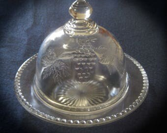 Vintage Round Glass Butter Cheese Dish-Pressed Glass-Flower/Grapes-Dome Lid
