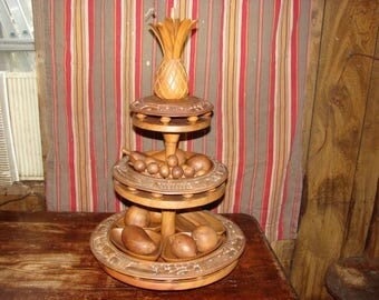 vintage philippine hand carved wood 3 tier lazy susan with monkey pod bowls and poi spoons