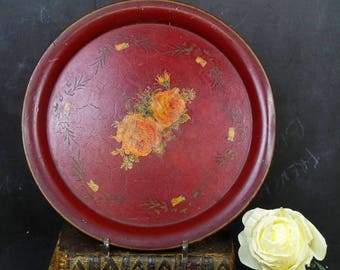 Hand Painted Tole Flowers Tray. Antique Tole Serving Tray. Romantic French Metal Tray.