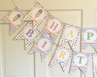 ICE CREAM PARTY Theme Happy Birthday or Baby Shower Party Banner - Pastels - Party Packs Available