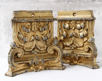 """TWO French Architectural Elements...5.1/2"""" x 5.1/2"""" x 2""""...Door Stops....Book Ends...Shabby chic...Nordic Living....Paris Apartment."""