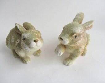 Vintage Bunnies Set of 2 Flocked Porcelain Easter Spring Decor