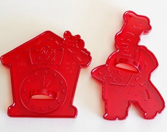 Vintage 1950s NURSERY RHYME Plastic Cookie Cutters - Hickory Dickory Dock & Muffin Man - By HRM
